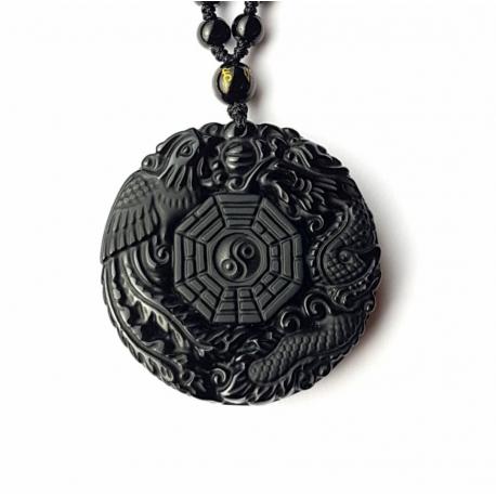Drak a fénix obsidián náhrdelník